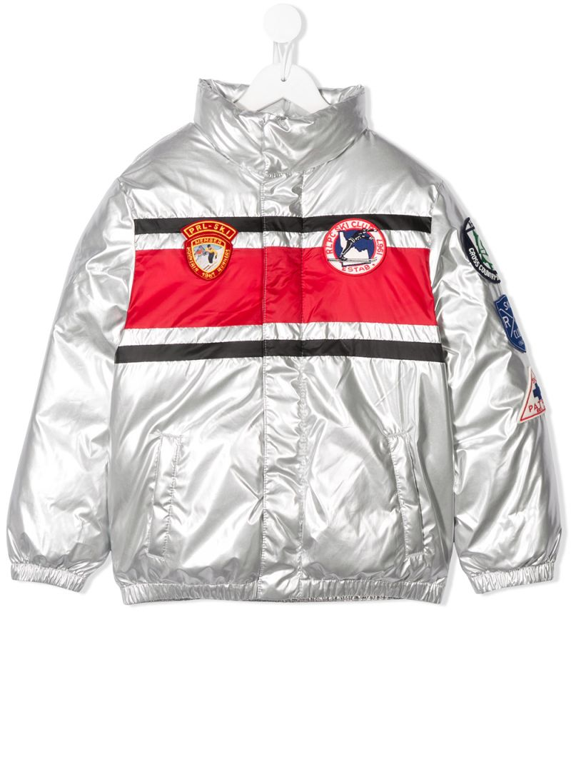 RALPH LAUREN KIDS: patch-detailed nylon down jacket Color Silver_1