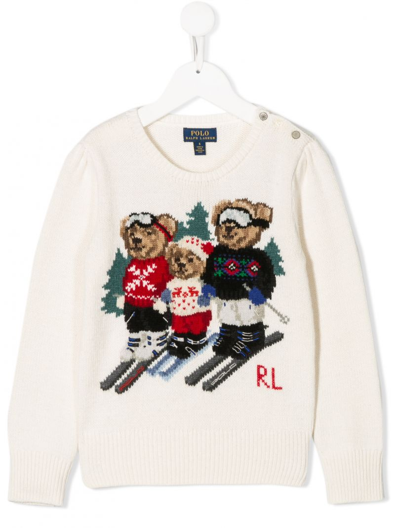 RALPH LAUREN KIDS: Polo Bear intarsia cotton wool blend pullover Color Neutral_1