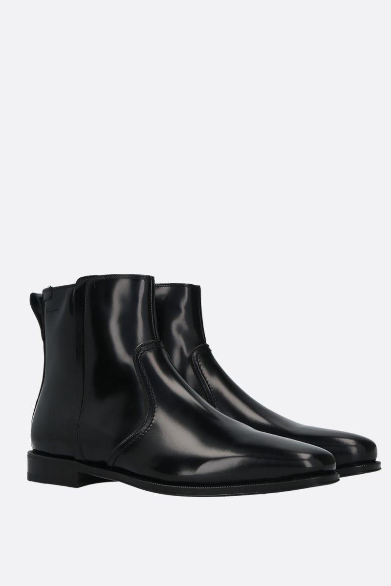 SALVATORE FERRAGAMO: Spider shiny leather ankle boots Color Black_2