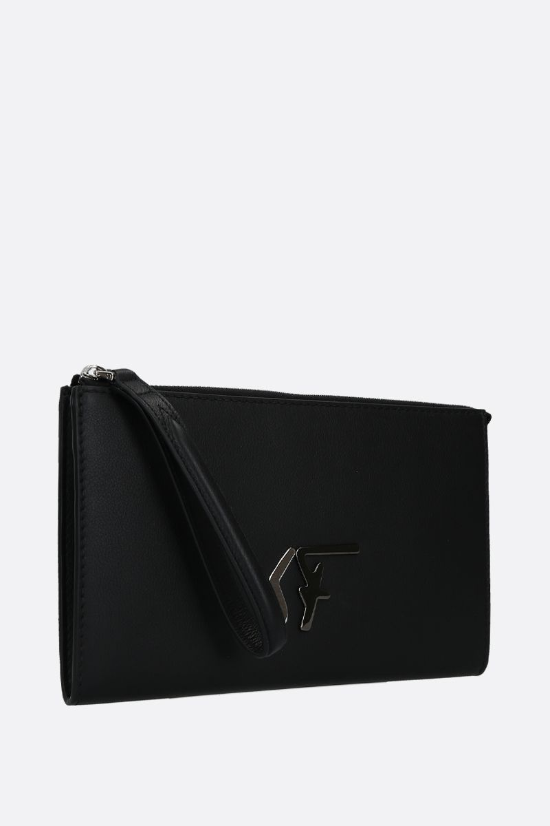 SALVATORE FERRAGAMO: smooth leather clutch with SF signature Color Black_2