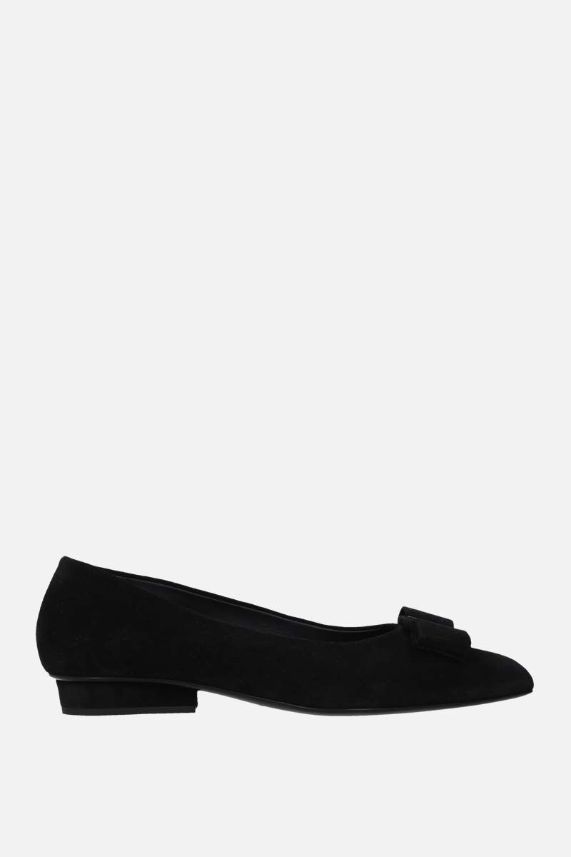 SALVATORE FERRAGAMO: Viva suede ballerinas Color Black_1