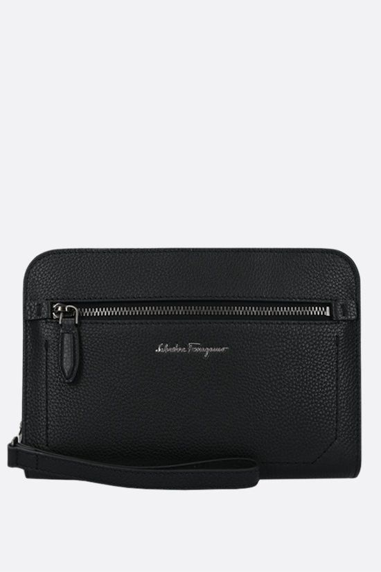 SALVATORE FERRAGAMO: Firenze grainy leather clutch Color Black_1