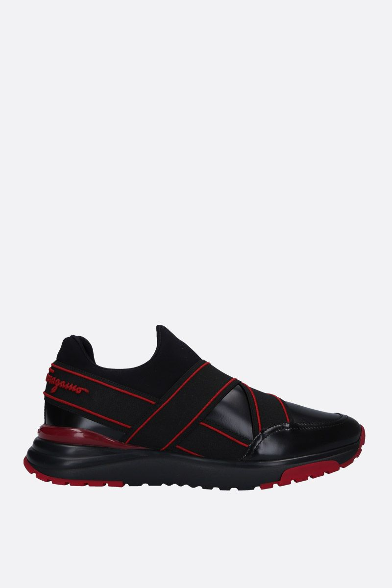 SALVATORE FERRAGAMO: Tyler sneakers in shiny leather and neoprene Color Black_1