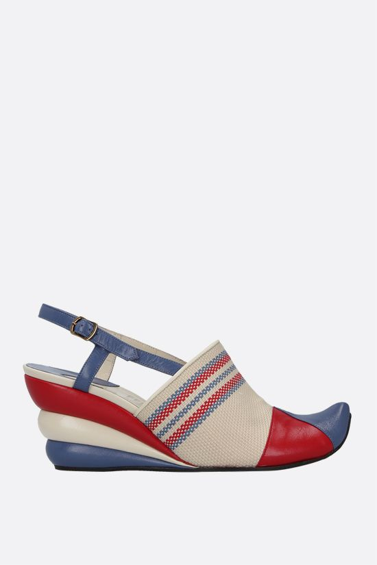 FERRAGAMO'S CREATIONS: Formia smooth leather and canvas slingbacks Color Multicolor_1