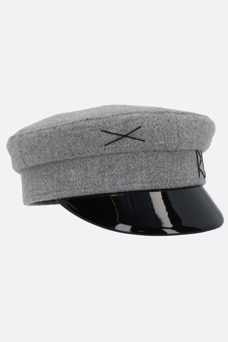 RUSLAN BAGINSKIY: wool felt baker boy cap Color Grey_2