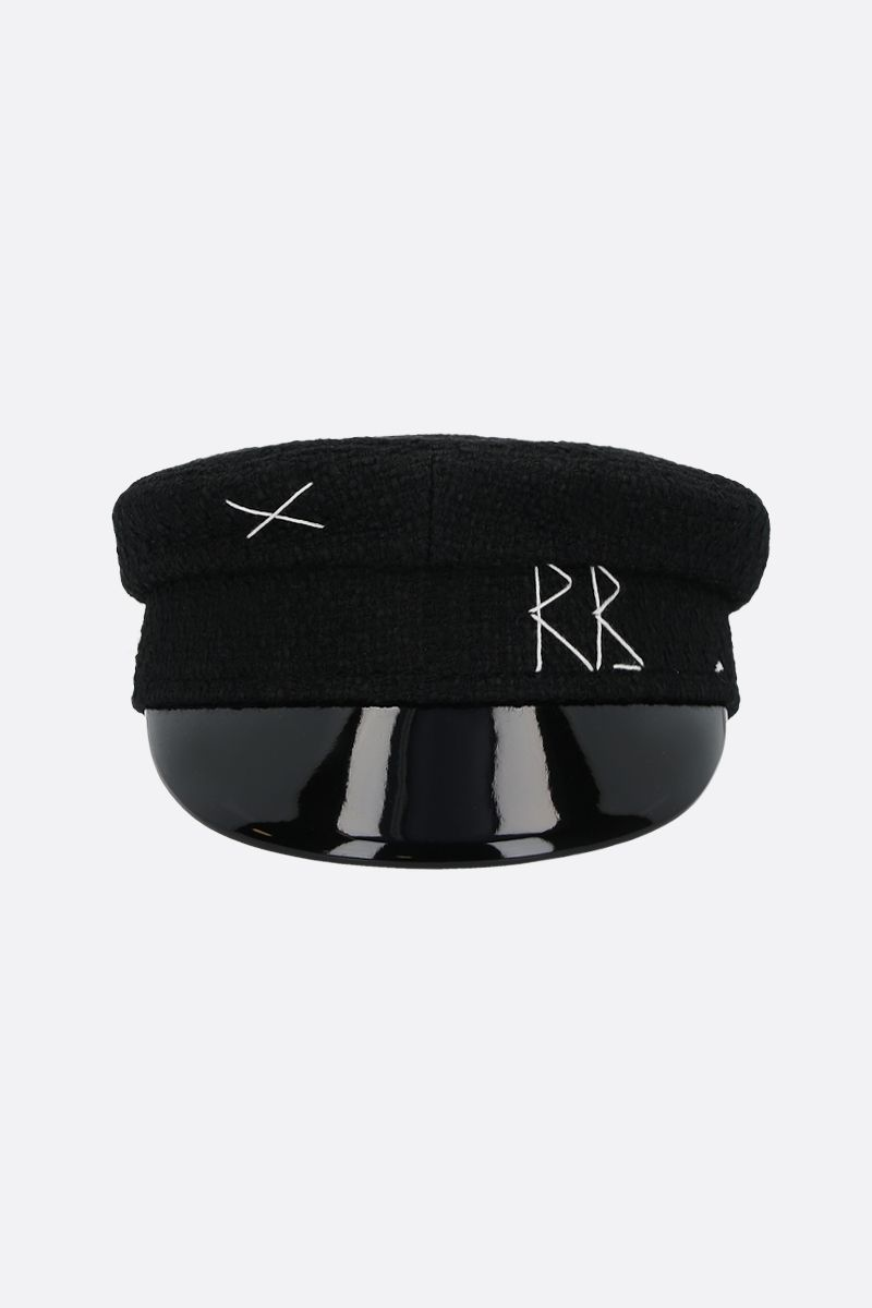 RUSLAN BAGINSKIY: tweed baker boy cap Color Black_1