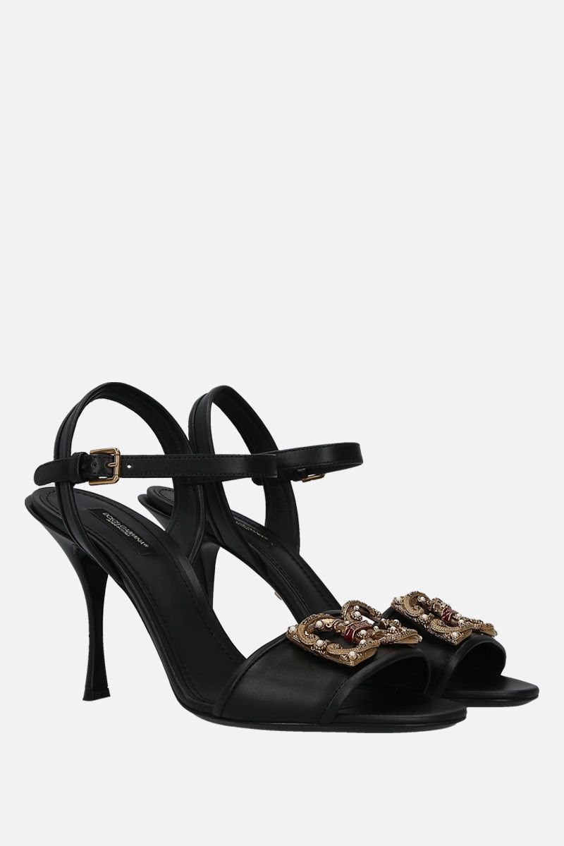 DOLCE & GABBANA: Keira sandals in smooth leather Color Black_2