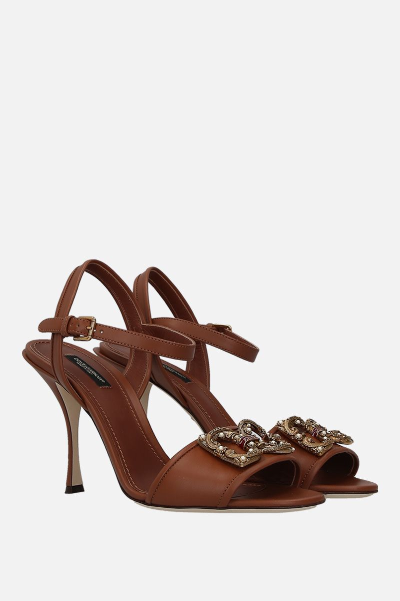 DOLCE & GABBANA: Keira sandals in smooth leather Color Neutral_2