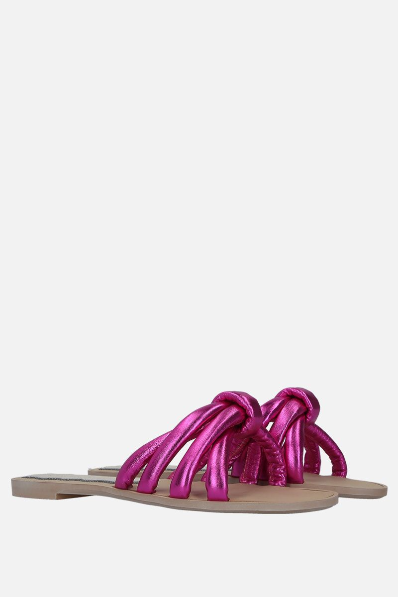 FRANCESCA BELLAVITA: Cotton Candy laminated leather flat sandals Color Pink_2