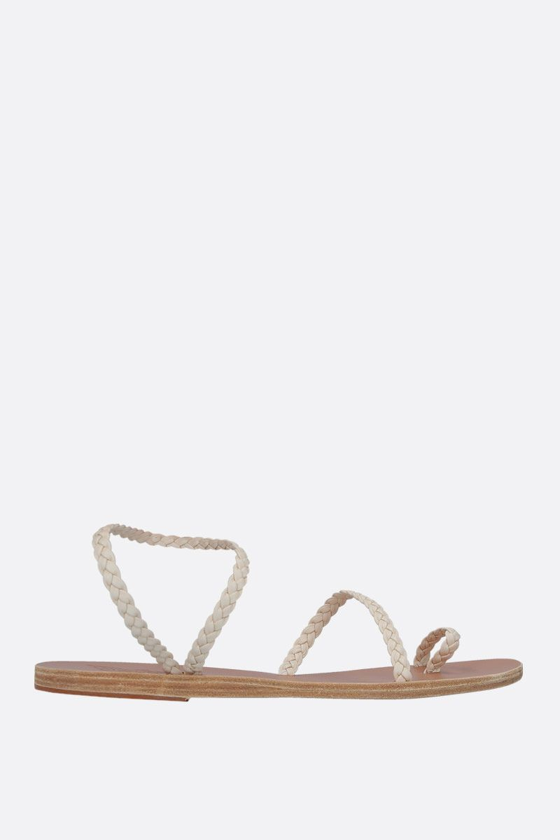 ANCIENT GREEK SANDALS: Eleftheria thong sandals in woven leather Color White_1