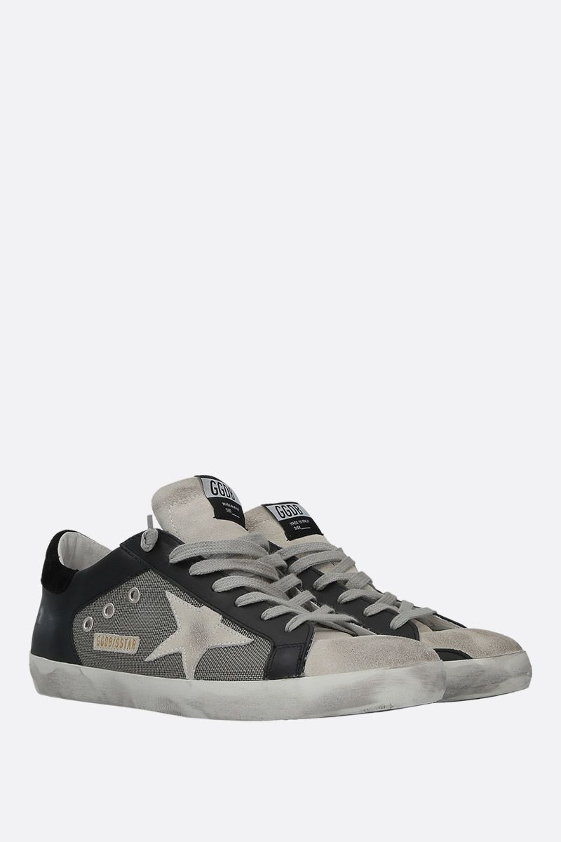 GOLDEN GOOSE DELUXE BRAND: Superstar sneakers in leather and mesh Color Black_2