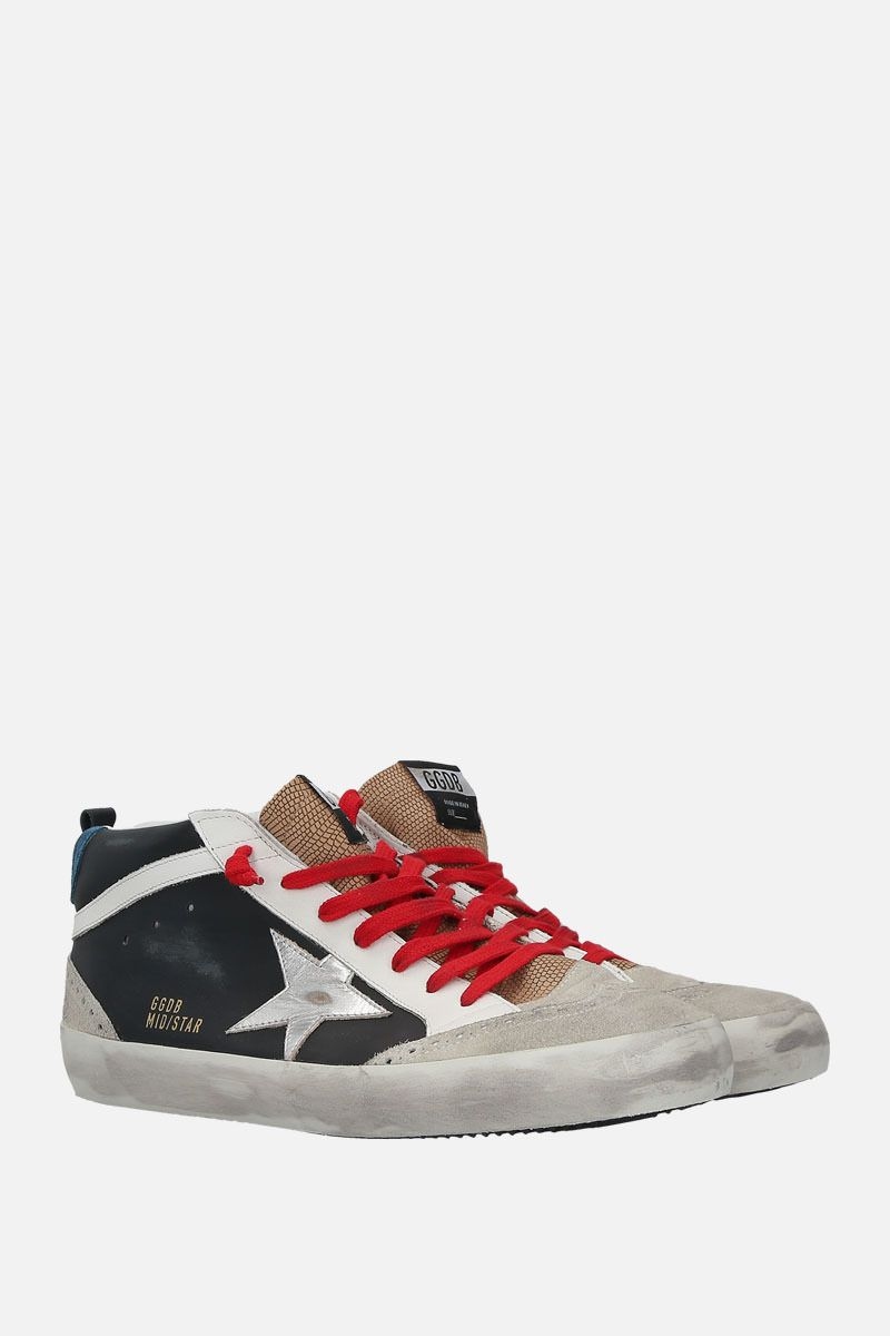 GOLDEN GOOSE DELUXE BRAND: Mid-Star sneakers in smooth leather and suede Color Black_2