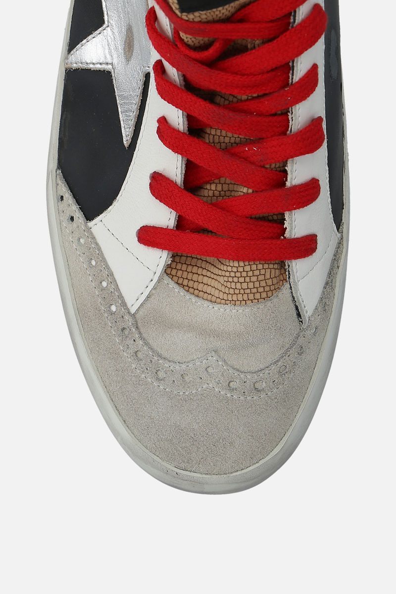 GOLDEN GOOSE DELUXE BRAND: Mid-Star sneakers in smooth leather and suede Color Black_4