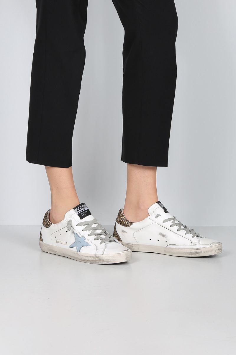 GOLDEN GOOSE DELUXE BRAND: Superstar sneakers in smooth leather and glitter Color Multicolor_2
