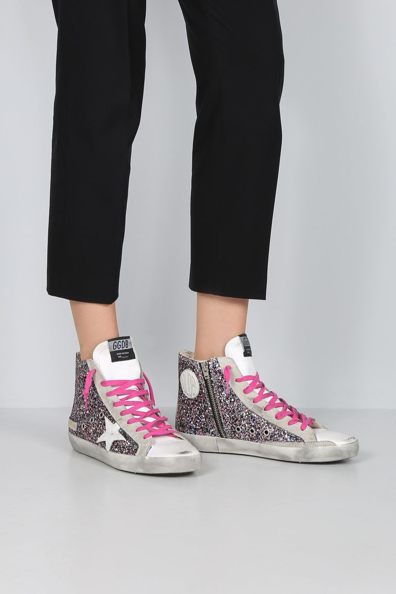 GOLDEN GOOSE DELUXE BRAND: Francy high-top sneakers in smooth leather and glitter Color Pink_2