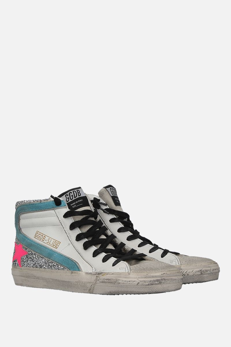GOLDEN GOOSE DELUXE BRAND: Slide high-top sneakers in smooth leather and glitter Color Multicolor_2
