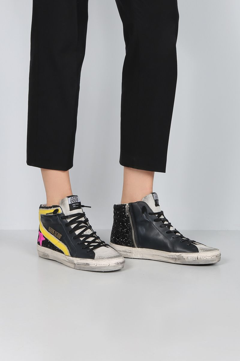 GOLDEN GOOSE DELUXE BRAND: Slide high-top sneakers in smooth leather and glitter Color Black_2