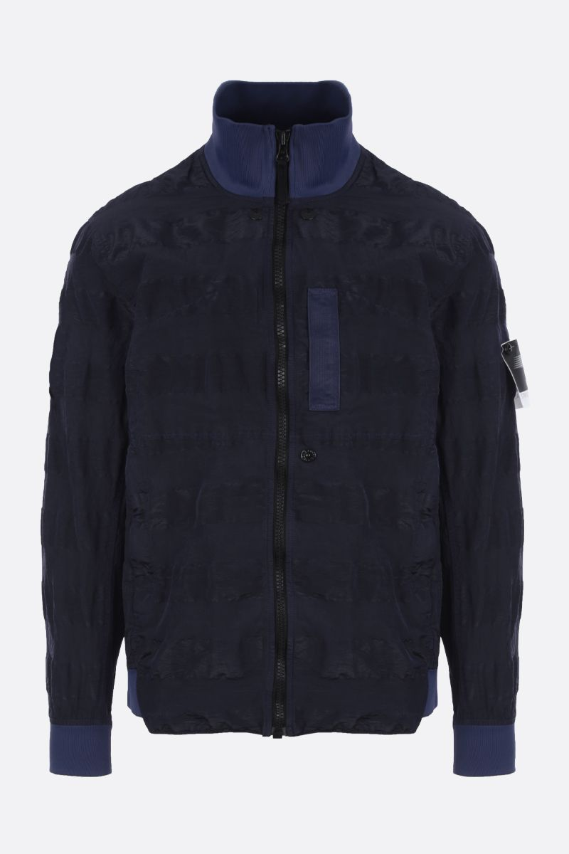 STONE ISLAND SHADOW PROJECT: Striped Nylon Metal fabric jacket Color Blue_1