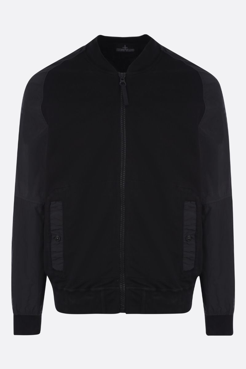 STONE ISLAND SHADOW PROJECT: jersey bomber jacket with nylon inserts Color Black_1