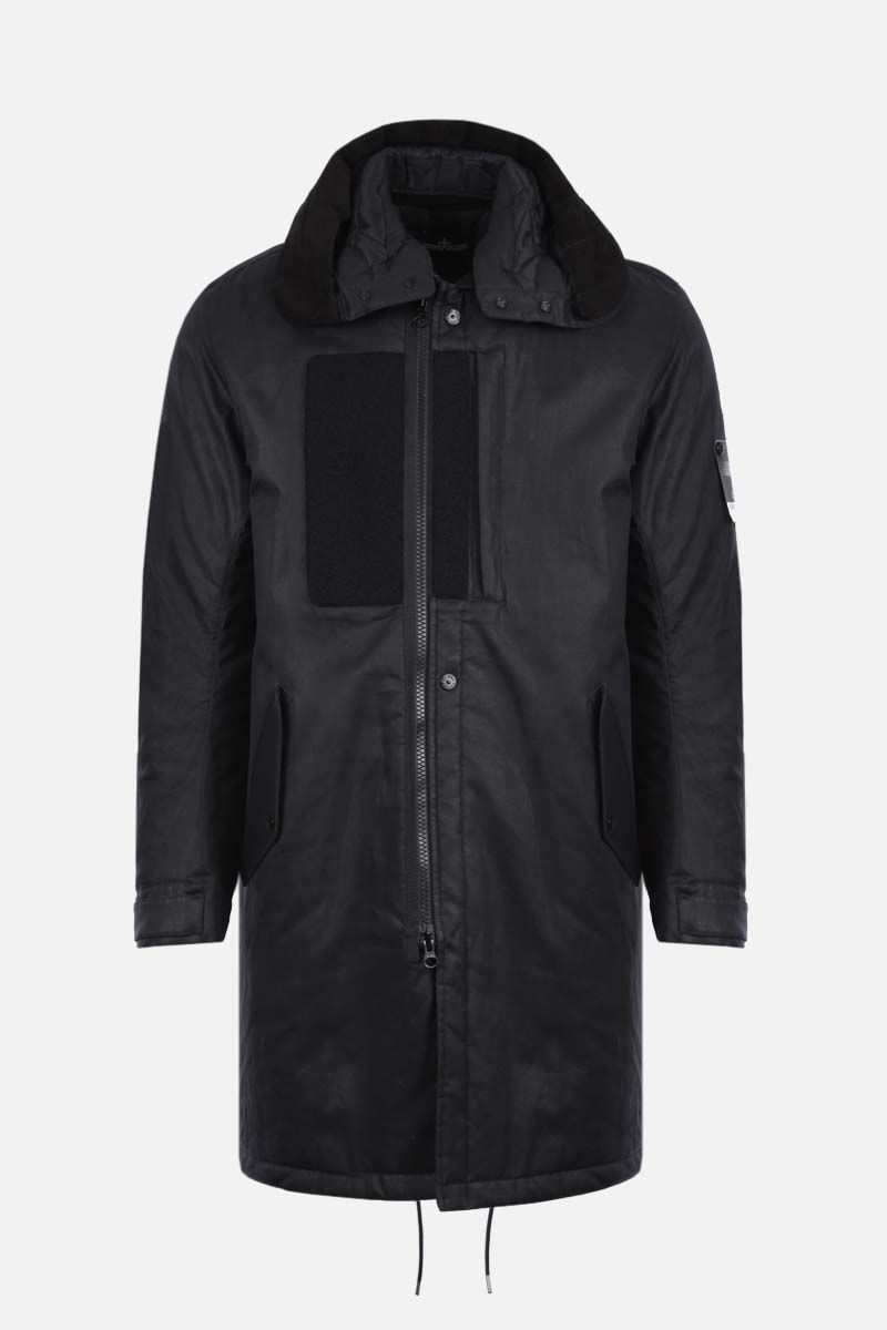 STONE ISLAND SHADOW PROJECT: rubberized linen padded jacket Color Black_1
