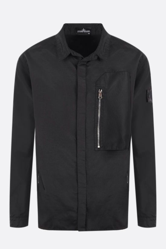 STONE ISLAND SHADOW PROJECT: logo badge-detailed nylon overshirt Color Black_1