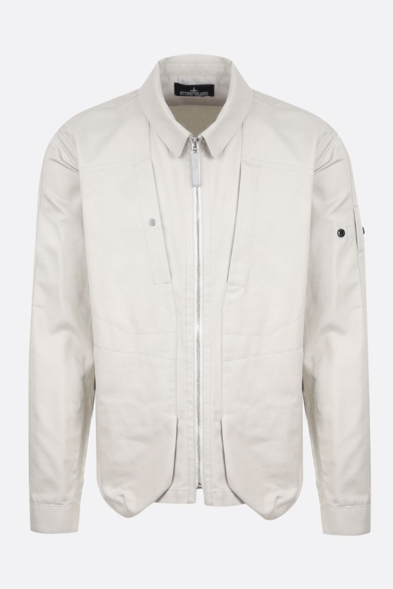 STONE ISLAND SHADOW PROJECT: giacca-camicia full-zip in cotone Colore Grey_1