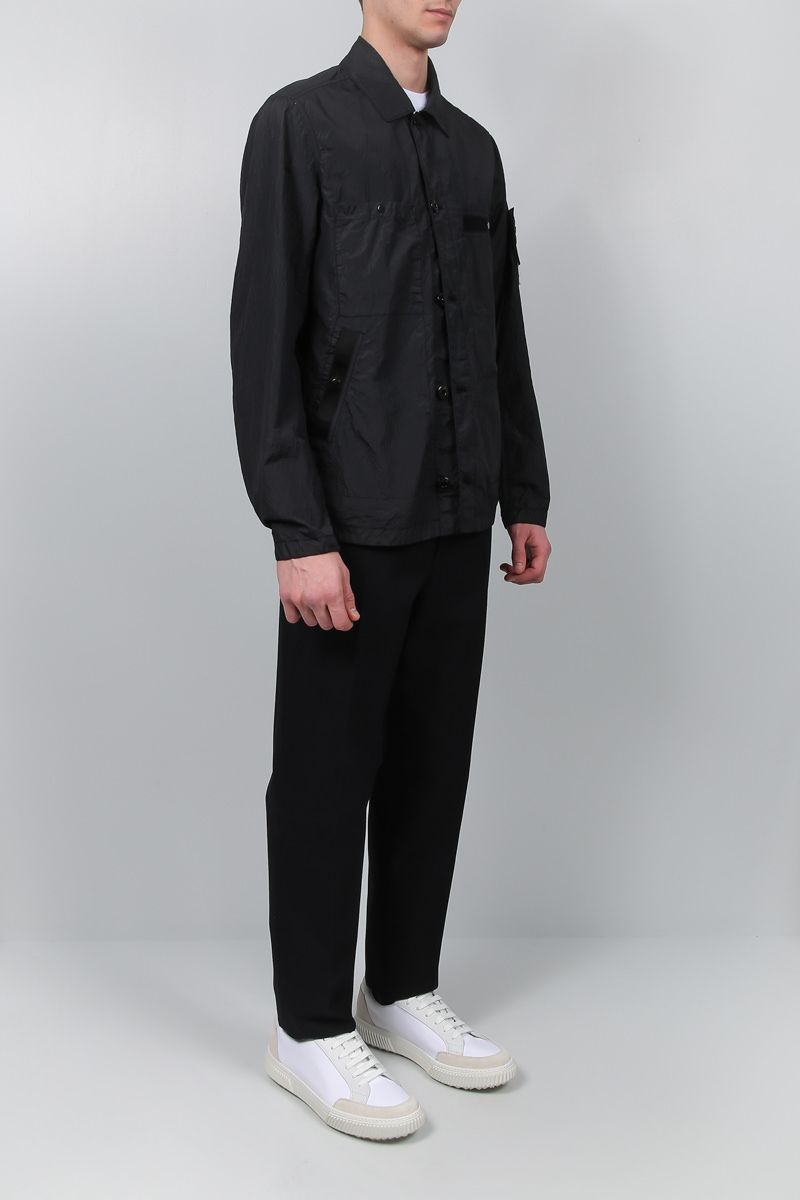 STONE ISLAND: Seersucker-TC fabric overshirt Color Black_2