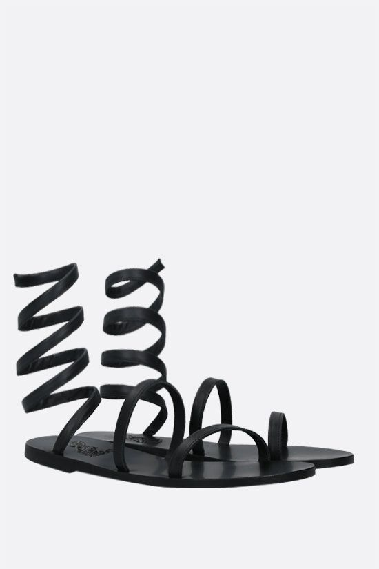 ANCIENT GREEK SANDALS: Ofis nappa gladiator sandals Color Black_2