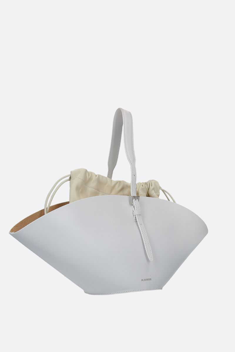 JIL SANDER: Sombrero small top handle bag in smooth leather Color White_2