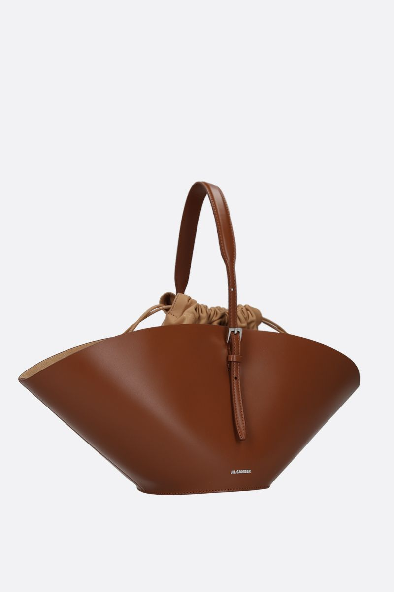 JIL SANDER: Sombrero small top handle bag in smooth leather Color Brown_2