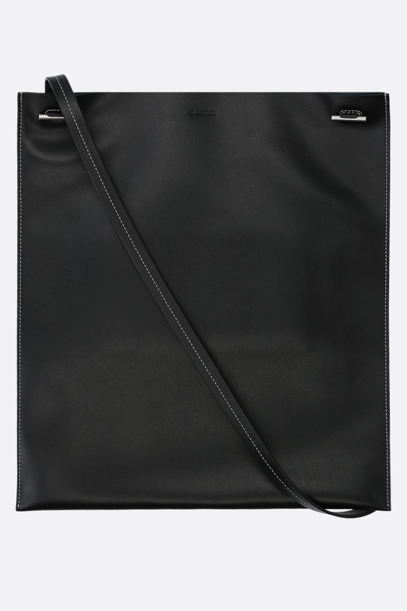 JIL SANDER: smooth leather flat shoulder bag Color Black_1