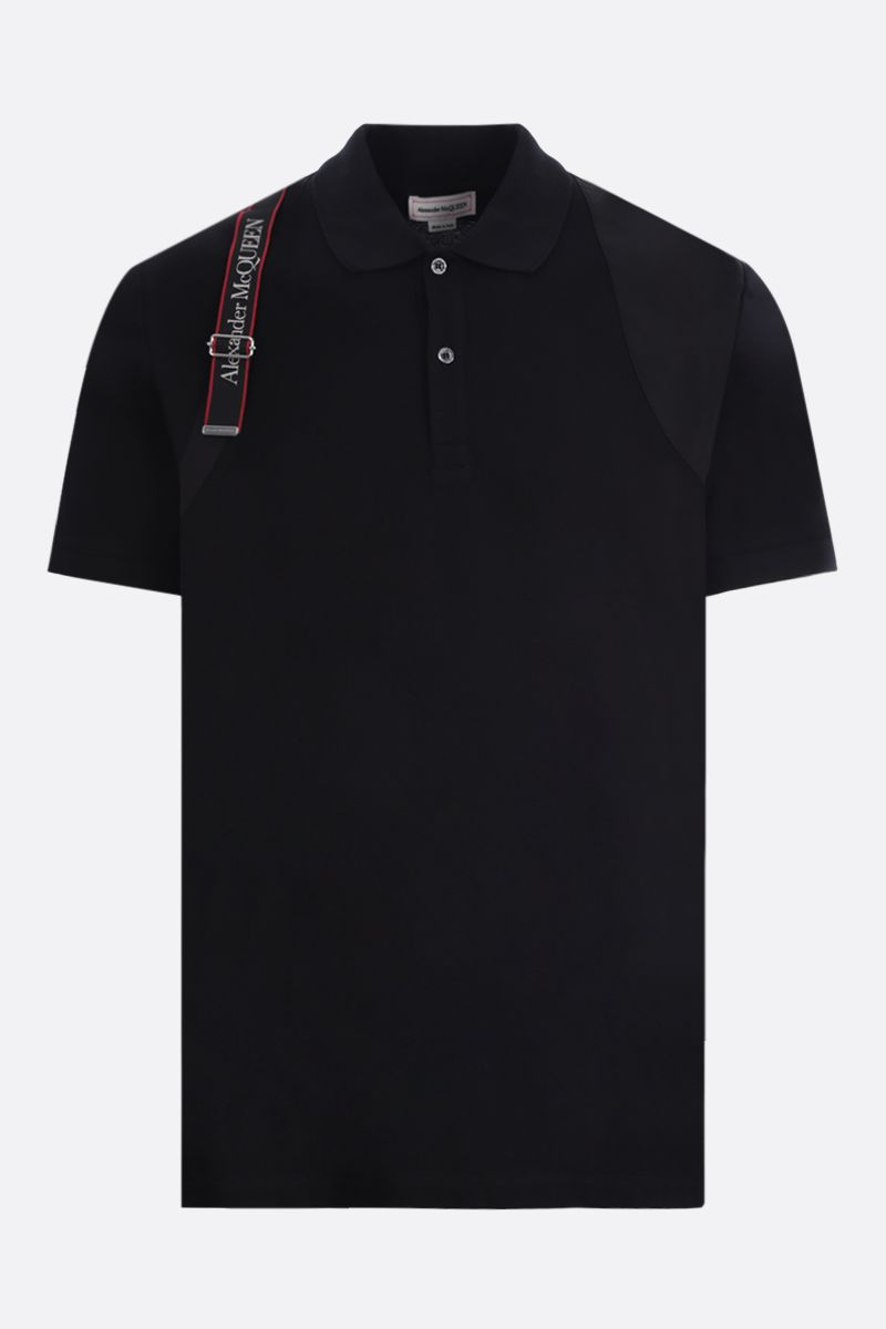 ALEXANDER McQUEEN: harness-detailed cotton polo shirt Color Black_1