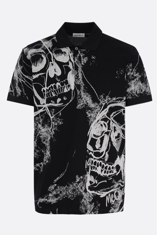 ALEXANDER McQUEEN: Skulls print cotton polo shirt Color Black_1