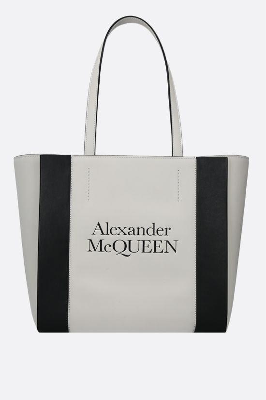 ALEXANDER McQUEEN: Sign small smooth leather tote bag Color Neutral_1