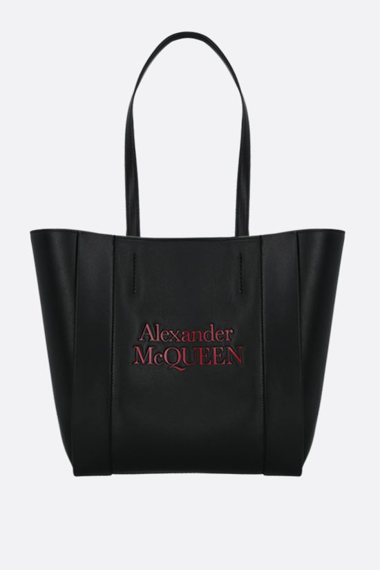 ALEXANDER McQUEEN: Sign small smooth leather tote bag Color Black_1
