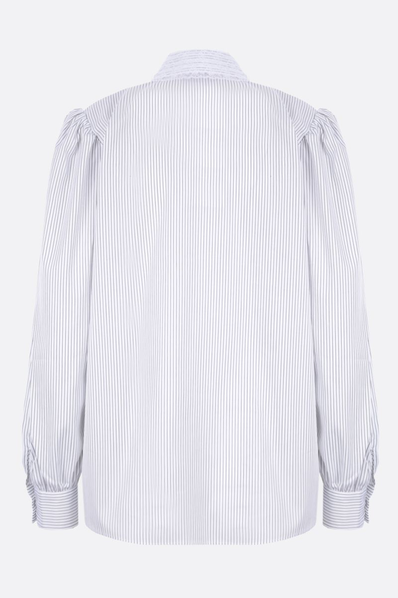 ALESSANDRA RICH: lace-embellished striped cotton shirt Color White_2