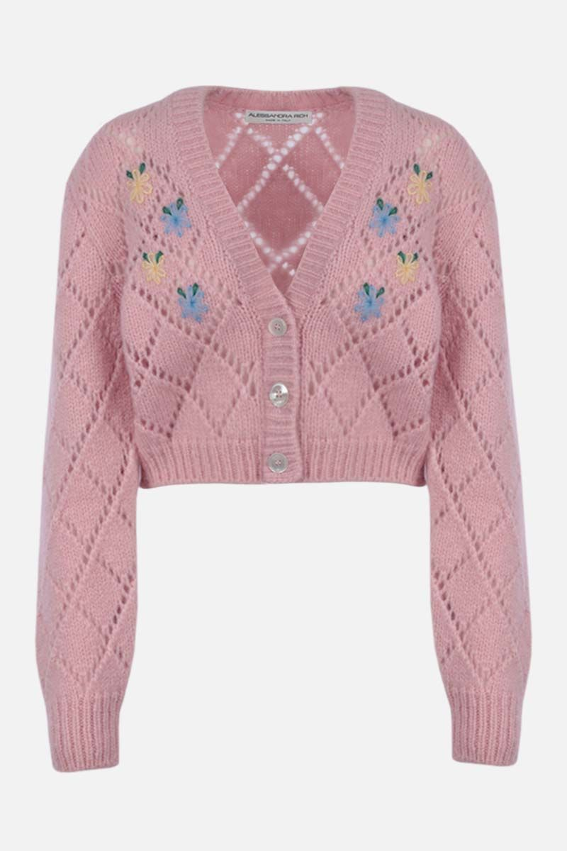 ALESSANDRA RICH: floral embroidered alpaca blend cropped cardigan Color Pink_1