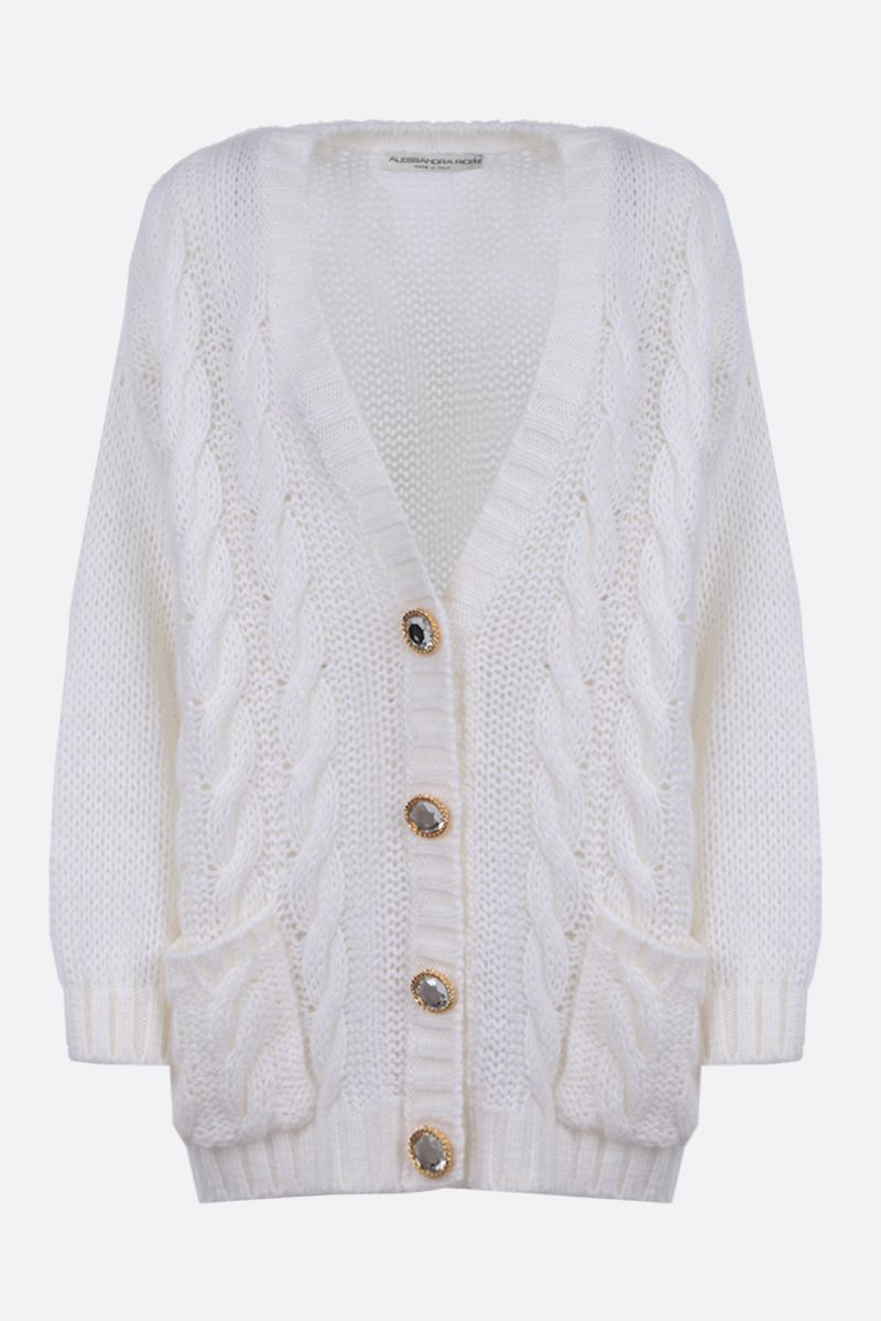 ALESSANDRA RICH: oversize mohair blend cardigan Color White_1