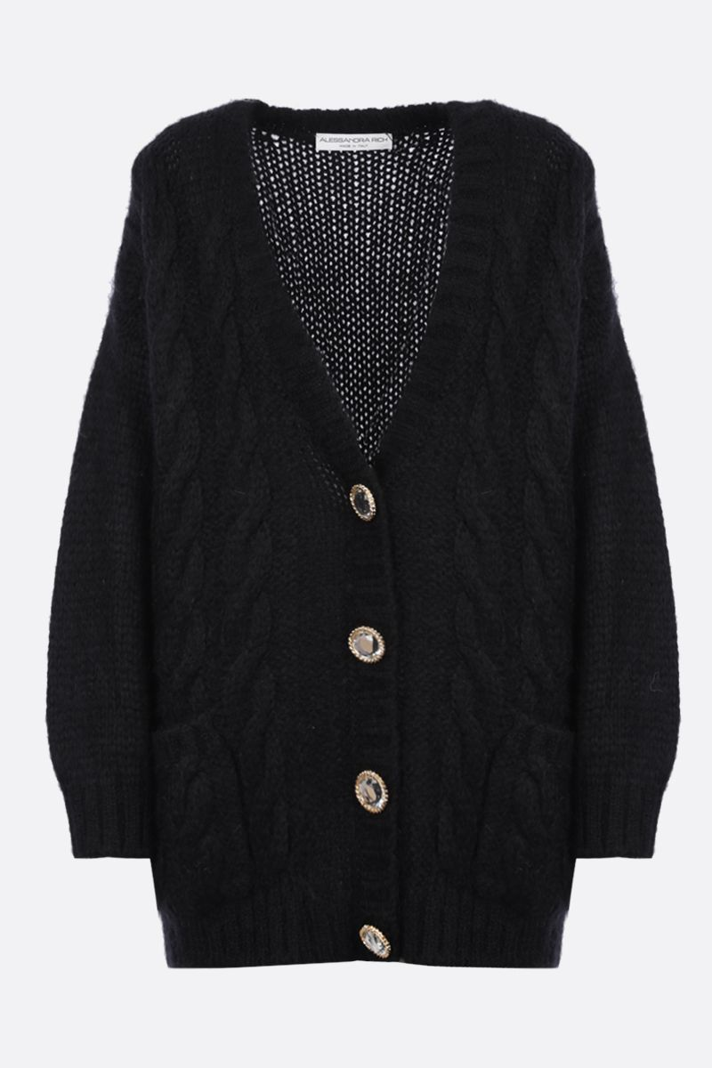 ALESSANDRA RICH: oversize mohair blend cardigan Color Black_1