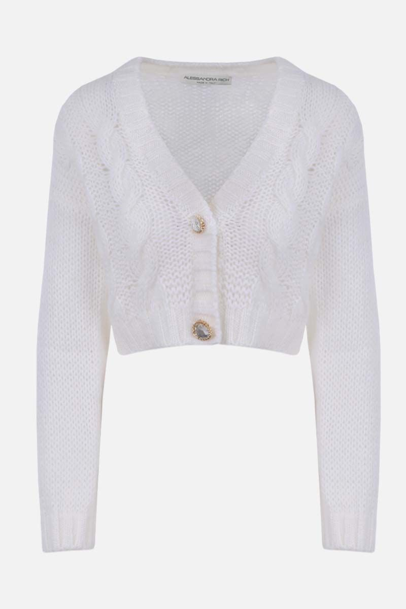 ALESSANDRA RICH: mohair blend cropped cardigan Color White_1
