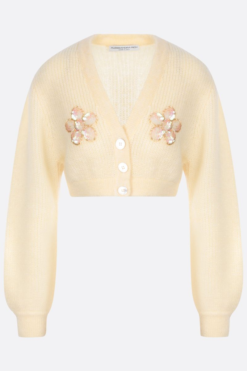 ALESSANDRA RICH: cardigan cropped in misto mohair con paillettes Colore Yellow_1