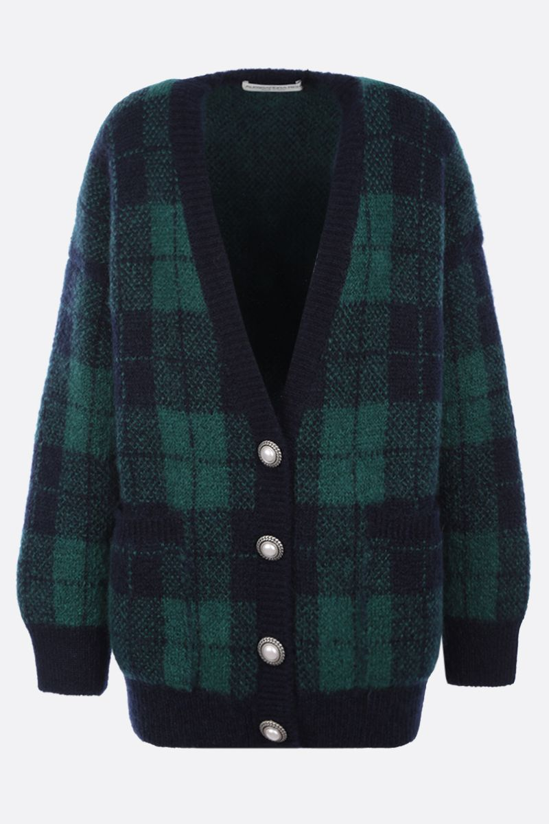 ALESSANDRA RICH: oversize check mohair blend cardigan Color Blue_1