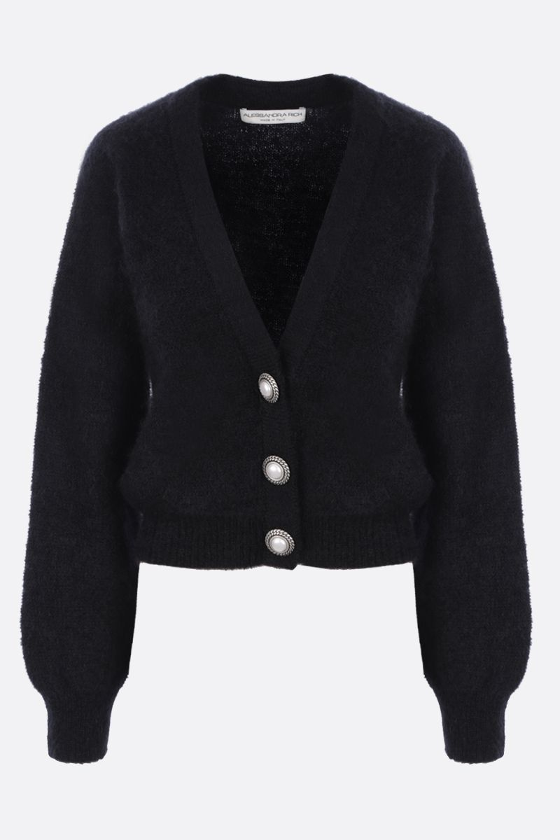 ALESSANDRA RICH: cropped mohair blend cardigan Color Black_1