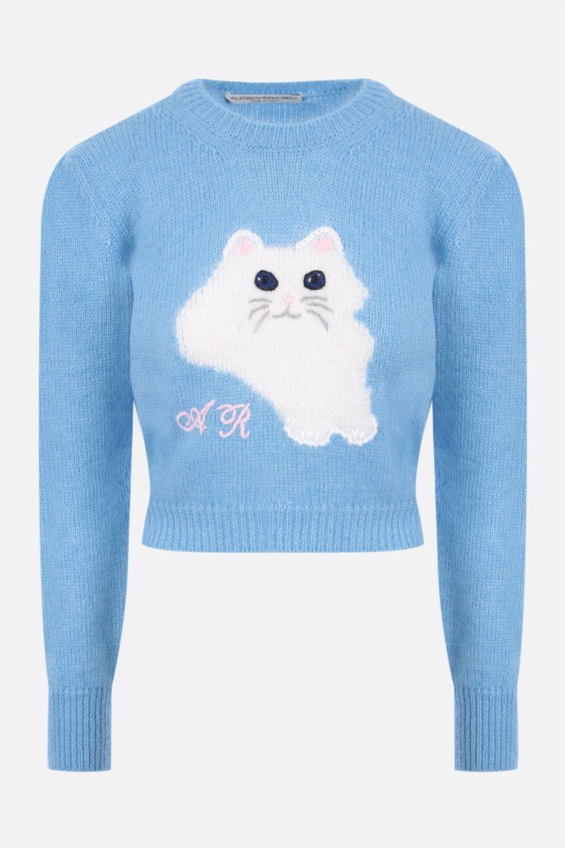 ALESSANDRA RICH: cat intarsia mohair blend cropped pullover Color Blue_1