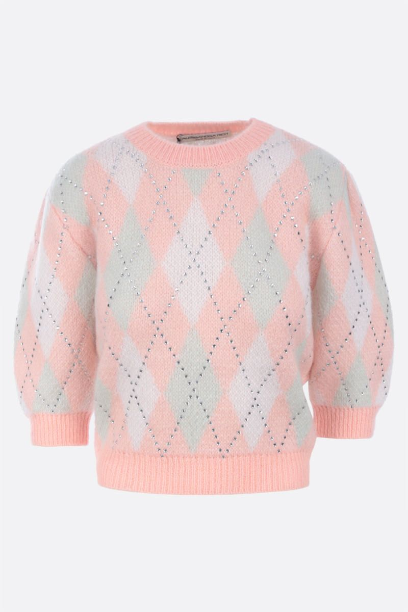 ALESSANDRA RICH: rhinestone-detailed mohair blend cropped pullover Color Pink_1