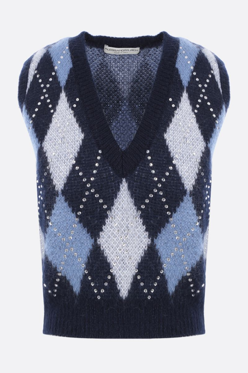 ALESSANDRA RICH: rhinestone-detailed mohair blend sleeveless pullover Color Blue_1