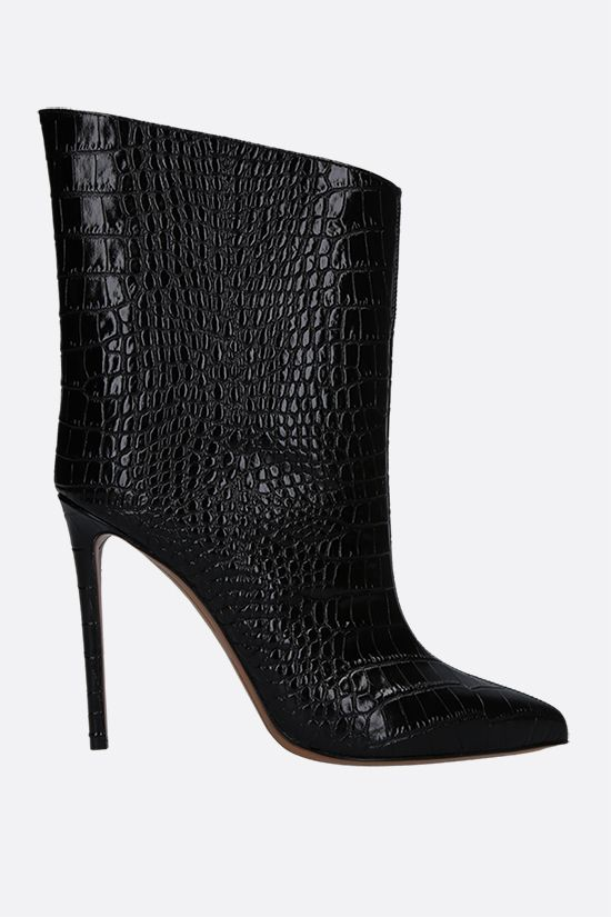 ALEXANDRE VAUTHIER: Alex crocodile-embossed leather booties Color Black_1