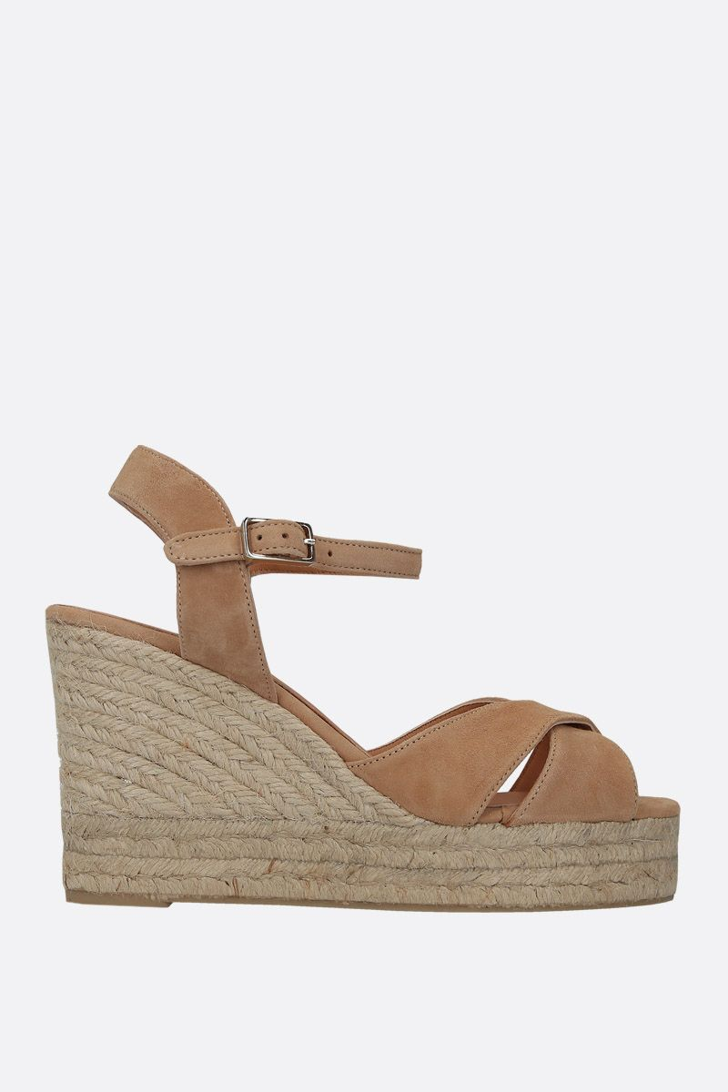 CASTANER: Blaudell wedge sandals in velvet suede Color Brown_1