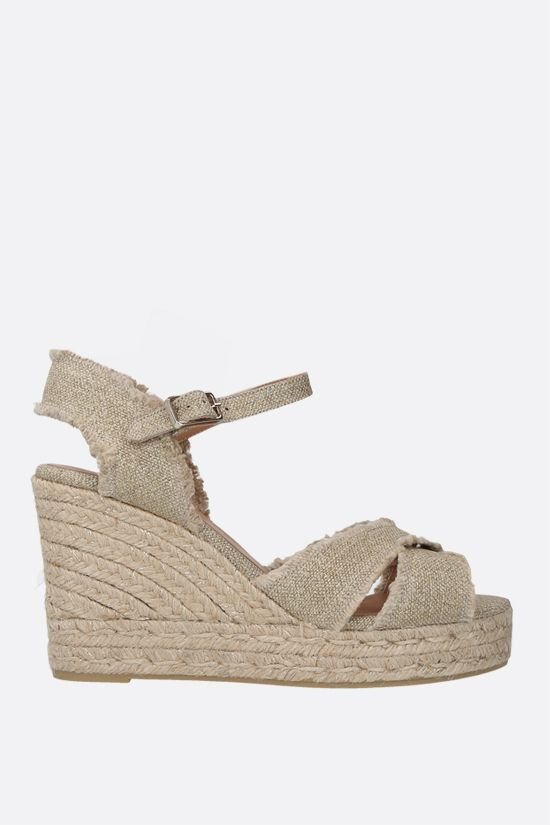CASTANER: Bromelia canvas and lurex wedge sandals Color Gold_1
