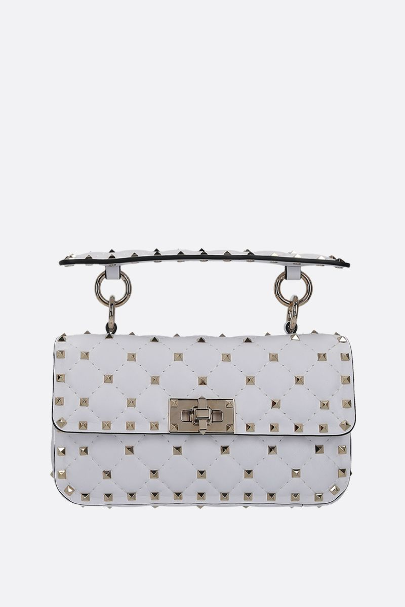 VALENTINO GARAVANI: Rockstud Spike small quilted nappa crossbody bag Color White_1